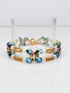 Gold Beads, Crystal Beads, Crystals, Aquamarine Crystal, Jewelry Gifts, Unique Jewelry, Seed Bead Bracelets, Lariat Necklace, Sister Gifts