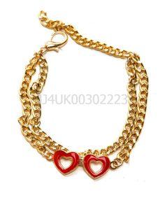 GOLD MULTI LINE CHAIN LINK DOUBLE HEART BRACELET BANGLE VALENTINES FASHION JEWEL #Marysol #Chain