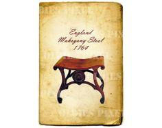 Vintage Furniture 1764 England Mahogany Stool by OldiesPixel, $3.25
