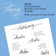 How to get started learning Contemporary/Modern Calligraphy!  http://theflourishforum.com/forum/index.php?topic=165.0