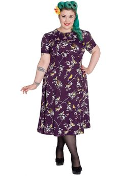 Hell Bunny Plus Size Birdy Dress - Aubergine just got this is turquoise