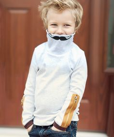 ddd358c4cc Look at this Gray Mustache Zipper Turtleneck Sweater- Toddler  amp  Boys on   zulily