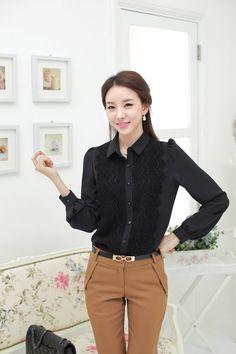 Kemeja Wanita Brokat Model Korea Hitam http://www.eveshopashop.com/kemeja-wanita-model-renda-modis/