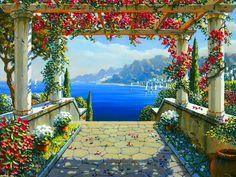 Amalfi Arbor Oil on Canvas by Bob Pejman Landscape Art, Landscape Paintings, Mediterranean Paintings, Pintura Exterior, Am Meer, Beautiful Paintings, Painting Inspiration, Wall Murals, Gazebo