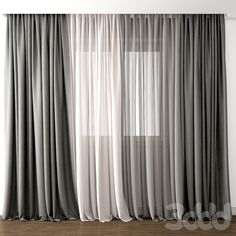 Curtain 44 by kellyart. Highly detailed model of curtain. max 2011 OBJ texture / You can buy thi Living Room Decor Curtains, Decor Home Living Room, Home Curtains, Grey Curtains, Living Room Windows, Hanging Curtains, Living Room Modern, Living Rooms, Contemporary Curtains