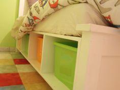 aspen's room: platform bed with cubby storage Cubby Storage, Under Bed Storage, Built In Storage, Storage Ideas, Bookshelf Plans, Desk Plans, Table Plans, Build Your Own House, Log Cabin Homes