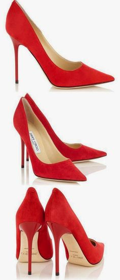 Jimmy Choo ABEL Red Suede Pointy Toe Pumps. Via @swisschicboutiq. #redheels #JimmyChoo