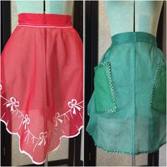Christmas Aprons Red Green Lot of 2 Holiday Vintage by ravished