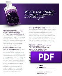 Read the entire product overview (PDF) of Jeunesse Reserve which is a unique botanical blend of antioxidants, anthocyanins, and essential fatty acids with restorative powers that will supercharge your health & assist you in delaying premature aging. RESERVE is naturally sweet and bursting with exotic flavors. Formulated to provide you with the protection you need, this delicious and nutritious gel will help you feel ...Read more at newlead.jeunesseglobal.com