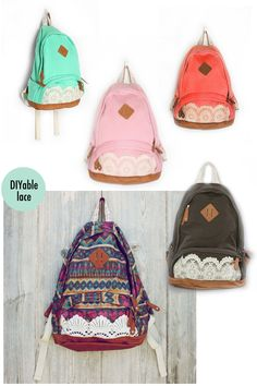 Cheap Fresh Simple Cute Lace Canvas Backpacks For Big Sale!Fresh Simple Cute Lace Canvas Backpack is very fashion among the young women. Diy Jeans, Lace Backpack, Backpack Bags, Diy Ombre, Cute Backpacks, Girl Backpacks, Canvas Backpacks, Diy Rucksack, Fashion Bags
