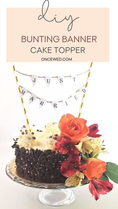 Add a touch of whimsy and vintage detail with this easy to follow DIY bunting banner cake topper tutorial. Click here to start learning how to make this super easy but gorgeous wedding decor now. #diyweddingdecor #savemoneyonweddings #vintageweddingdetails #diyweddingtutorials
