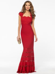 EVENING DRESSES | Red Lace Illusion Flared Hem Gown | Caché