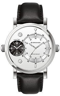 75% Off on Giordano Black Leather Analog Men Watch @1444