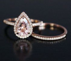 Pink Morganite Engagement Ring Pear Morganite Ring and Diamond Wedding Band Set in 14k Rose Gold with Morganite 10x7mm Pear by Twoperidotbirds on Etsy https://www.etsy.com/listing/227244920/pink-morganite-engagement-ring-pear
