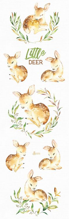 This Little Deer set of 11 high quality hand painted watercolor images. Perfect graphic for any projects, babyshowers, wedding invitations, greeting cards, photos, posters, quotes and more. ----------------------------------------------------------------- This listing includes: 11 x