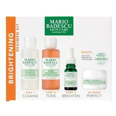Women's Mario Badescu Brightening Regimen Kit ($38) ❤ liked on Polyvore featuring beauty products, skincare, face care, no color, exfoliating mask, face toner, anti aging skin care, brightening mask and anti aging skincare