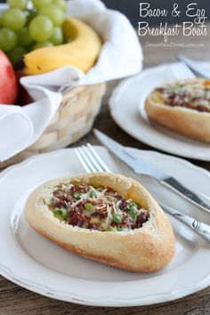 These Bacon and Egg Breakfast Boats are simply made with store bought mini-baguettes, real bacon bits, eggs, a little heavy cream, cheese, green onions and a little seasoning.