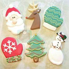 Christmas sugar cookies Santa Reindeer Tree Snowman Mitten Keri's Kreations