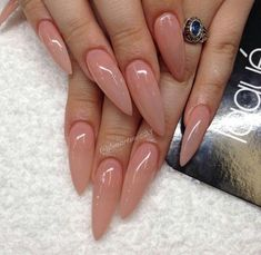 Color, on an almond nail, not so long as these stilletos - fancy claws - Nails Long Almond Nails, Almond Shape Nails, Long Nails, Nails Shape, Natural Almond Nails, Almond Nails Pink, Natural Color Nails, Nude Nails, Gel Nails