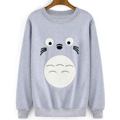 Round Neck Cartoon Print Grey Sweatshirt ($15) ❤ liked on Polyvore featuring tops, hoodies, sweatshirts, sweaters, shirts, grey, long sleeve sweatshirt, gray top, long sleeve cotton tops and grey pullover sweatshirt