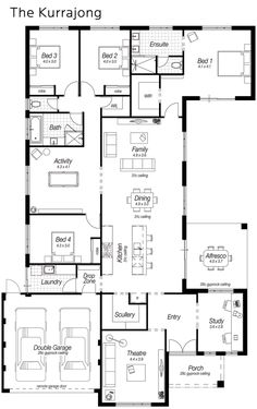 Today for my Floor Plan Friday post I have this one which features a modern kitchen, large scullery, drop zone and heaps more. It's a 4 bedroom home with the Master bedroom on the back. Some people love that layout! 5 Bedroom House Plans, New House Plans, Dream House Plans, Modern House Plans, Modern House Design, House Floor Plans, U Shaped House Plans, Modern Floor Plans, Layouts Casa