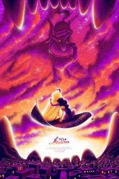 Private Commission for an alternative movie poster for the Disney classic 'Aladdin' by Tom Miatke Images Disney, Art Disney, Disney Pictures, Disney Love, Disney Magic, Aladdin 1992, Aladdin Movie, Aladdin Art, Disney E Dreamworks