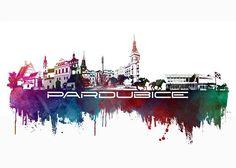 Pardubice skyline city blue - JBJart