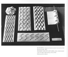 Preliminary course with Josef Albers, plastic materials exercise with paper, paper folding, around 1927. Bauhaus Archiv Berlin Interesting read NY Times. The daughter of Gropius and bauhaus paper folding courses.