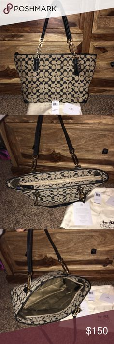 Coach Madison East West Tote (khaki/black) Coach Madison East West Handbag (khaki/black). Includes Original tag, dust bag, and care card. Paid $298 last year. This bag is flawless! Smoke, and pet free home! No stains, or blemishes anywhere. Bag can be authenticated directly though coach's 800 number if concerned about authenticity! Selling for $150 last four on interior id tag are 28602. Coach Bags Shoulder Bags