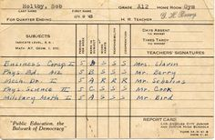 Front side of a report card for Robert Holtby, a graduate of North Hollywood High School, June 1943. His classes included: Business Correspondence, Mechanical Drafting, and Military Math. San Fernando Valley History Digital Library.