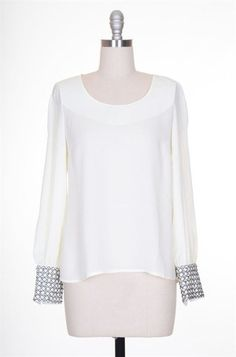 Ethereal Melodies Embellished Cuff Blouse - White + Silver