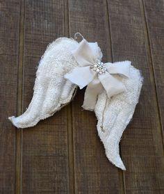 Angel Wings Creamy Burlap Shabby Chic Vintage by PleasantLeeHome