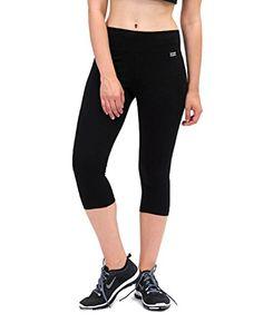 PINEAPPLE DANCEWEAR Womens Wide Band Crop Capri Leggings Black Stretch Fabric…