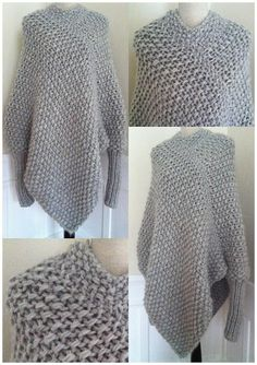 It's not in English but maybe possible to work out how it's been constructed. No instructions as far as I can tell in any language. marianne mirabelle: Søkeresultat for poncho Knitted Poncho, Knitted Shawls, Knit Or Crochet, Crochet Shawl, Crochet Capas, Knitting Patterns, Crochet Patterns, Arm Knitting, Crochet Clothes