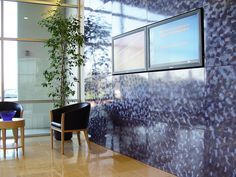 Indigo blue clouds for this lobby wall ... #Móz #Moz #Metal #Metals #Metallic #Metallics #Design #Designs #Designer #Surface #Surfacing #Architecture #Architectural #Modern #Contemporary #Decor #Decorative #Material #Materials #Cover #Covering #Art #Fashion #Interior #Aluminum #Neutral #Handcrafted #Color #Laminate #Building #Room #Commercial #Corporate #Urban #Bold #Inspiration #Manufacturing #Manufacturer #Office #Lobby #Indigo #Blue #Blues #Clouds #Wall #Walls #Focal #Feature