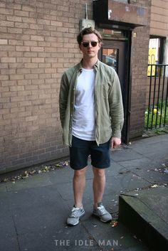 Men's street style | Captain Potential - Donning khaki instantly gives you an edge, team up a khaki overshirt over some shorts and a white t-shirt. | Shop the look at The Idle Man