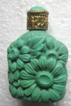 Old Malachite Glass Perfume Bottle Deeply Molded Flowers Orig Top Fine Condition photo
