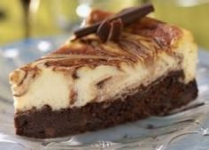 Double Chocolate Cheesecake Elegant marbled cheesecake with chocolate chip-studded chocolate base
