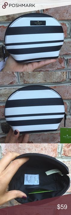 "NWT Kate Spade Make Up Bag Brand new with tags cosmetics case in two tone  Measurements 7.5"" X 5.5"" X 2.75""  Ribbon zipper pull  Coated canvas  Satin lining, card pocket   ✔️ Bundle Discounts  ✔️ Reasonable Offers through offer button  ❌ Low Balling  ❌ Trades kate spade Bags Cosmetic Bags & Cases"