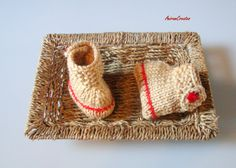 Hand knitted cotton baby bootees by AniramCreates on Etsy, £12.99