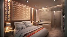 Interior design and decoration of Contemporary African inspired hotel bedroom & en suite bathroom.