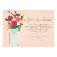 Mason Jar Wedding Invitation – Pastel Apricot