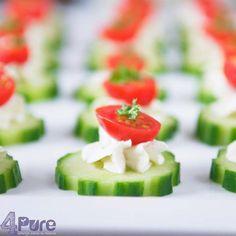 Komkommerrondjes met kruiden roomkaas en tomaat4Pure by Andrea