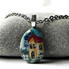 "HOUSE Necklace Hand Painted STONE Rock Pendant Landscape Silver  24"" Rolo Chain"