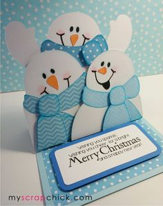 Snowmen are the best part of winter. Here are 3 little snowmen to cheer you. They will happily send your holiday wishes and merry Chris...