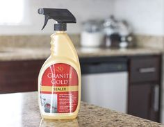 Granite Countertop granite gold sealer Zillow Digs - Read our step-by-step instructions on how to seal granite countertops. View photos, detailed descriptions and required supplies needed. Granite Countertop Sealer, Kitchen Cabinets And Countertops, Outdoor Kitchen Countertops, Kitchen Countertop Materials, Cleaning Granite, How To Clean Granite, Leather Granite, Outdoor Kitchen Design, Design Kitchen