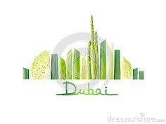 Dubai cityscape with skyscrapers and landmarks made of green vegetables: asparagus, cabbage, leek and beans
