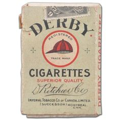 "1912-13 Imperial Tobacco C57 ""Derby"" Cigarette Box Wrapper ❤ liked on Polyvore featuring fillers, cigarettes, props and smoking"