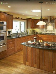 Trendy kitchen layout with island double ovens dark wood ideas Red Kitchen Cabinets, Kitchen Cabinets Pictures, Kitchen Cabinet Layout, Cherry Cabinets, Granite Kitchen, Dark Cabinets, Shaker Cabinets, Upper Cabinets, Kitchen Backsplash