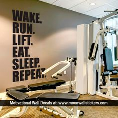 Gym Wall Decal - Exercise Stickers - Workout Stickers - Fitness Stickers - Wall Decal - Gym - Exercise - Motivational Quote To view more Art that will look gorgeous on Your Walls Visit our Store: Basement Gym, Garage Gym, Basement Makeover, Gym Quotes Inspirational, Wall Stickers Sports, Gym Interior, Interior Design, Gym Decor, Gym Room